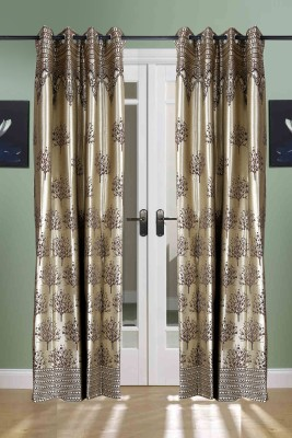the handloom store Polycotton Brown, Gold Abstract, Self Design Eyelet Door Curtain
