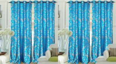 Hargunz Polyester LightBlue Abstract Eyelet Door Curtain