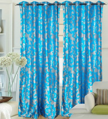 Hargunz Polyester Light Blue Floral Eyelet Door Curtain