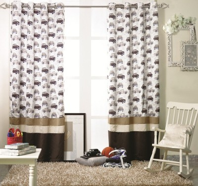 KC HOME Polyester Brown, White Printed Curtain Window Curtain
