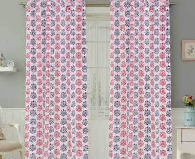 COLORS FOR LIVING Cotton Navy, Red Motif Concealed Tab Top Window Curtain