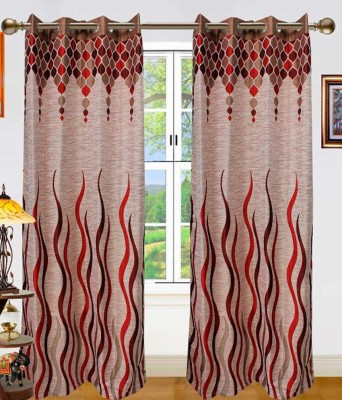 STC Jacquard Red Self Design Eyelet Door Curtain