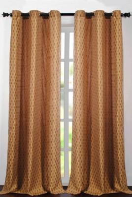 Deco Essential Polyester Mud Brown Plain Eyelet Door Curtain