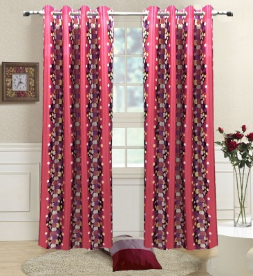 Homefab India Polyester Pink Polka Eyelet Door Curtain