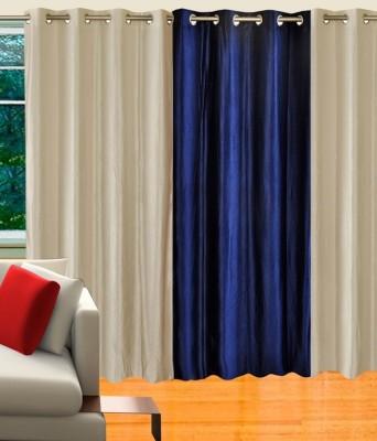 Decor Vatika Polycotton White, Blue Motif Eyelet Door Curtain