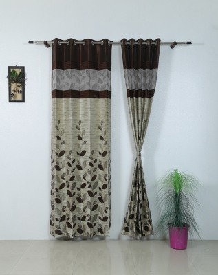 Aradhana Furnishings Polyester Brown Floral Eyelet Window & Door Curtain