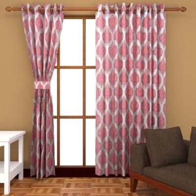 Royal Shri Om Polyester Red Printed Eyelet Window & Door Curtain
