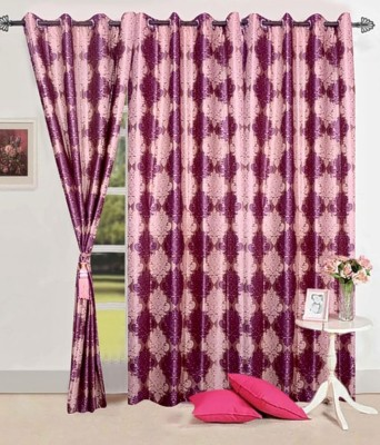 Zesture Polyester Multicolor Damask Eyelet Door Curtain