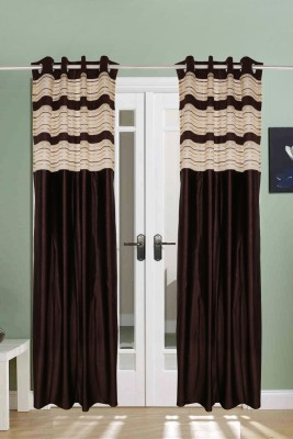 The Handloom Store Tissue, Polyester Brown Plain Eyelet Door Curtain
