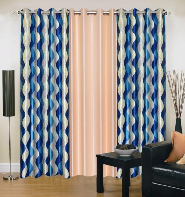 Excel Bazaar Polyester Blue, Beige Abstract Eyelet Door Curtain