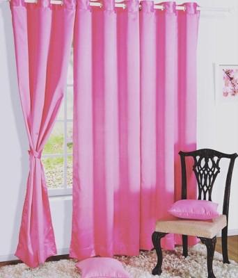 Panipat Textile Hub Polyester Pink Plain Eyelet Door Curtain