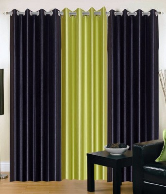 Daddu Enterprises Polyester Black, Light Green Plain Eyelet Long Door Curtain