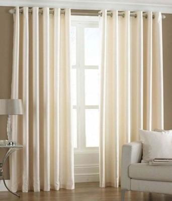 shivamconcepts Polyester Cream Plain Eyelet Door Curtain