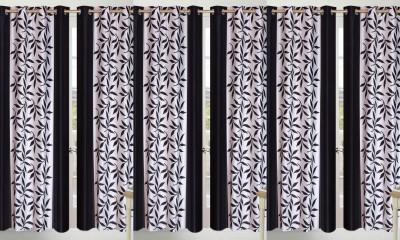 Shopgalore Polyester Black Floral Eyelet Door Curtain