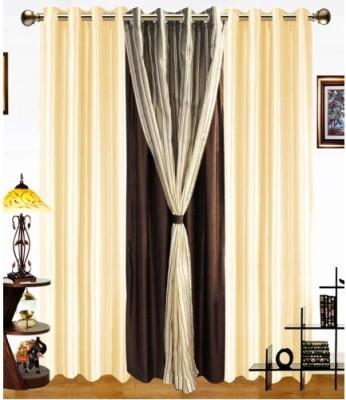 Shopgrab Polyester Beige, Brown Solid Eyelet Door Curtain