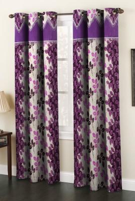 AJ Interior Polyester Purple Abstract Eyelet Door Curtain