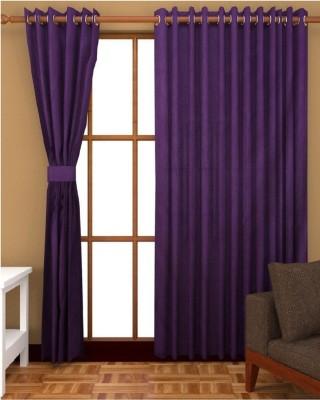 Thiwas Polyester Purple Plain Eyelet Long Door Curtain