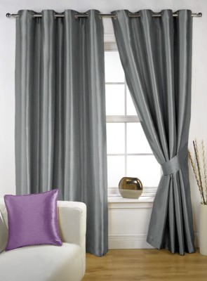 Homec Polyester Grey Solid Eyelet Window Curtain