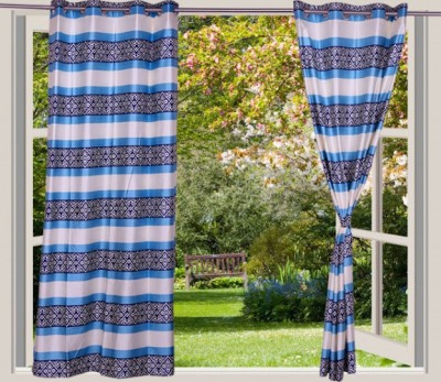 Desire Polyester Blue Striped Eyelet Window Curtain