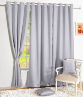 Story@Home Silk Grey Solid Eyelet Window Curtain(152 cm in Height, Single Curtain)