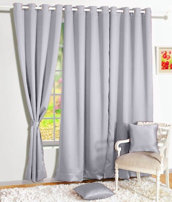Story @ Home Silk Grey Solid Tab Top Window Curtain