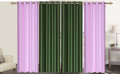 Furnishing Zone Polyester Pink, Green Plain Eyelet Long Door Curtain