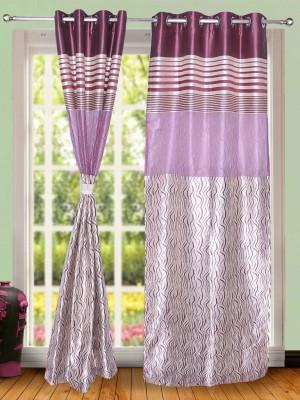 Wind Drape Polyester Purple Striped Ring Rod Door Curtain