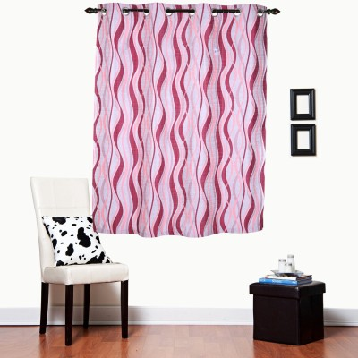 Luk Luck Home Polycotton Pink Printed Ring Rod Window Curtain