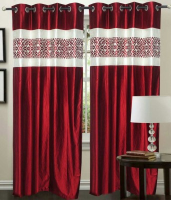 STC Polyester Maroon Self Design Eyelet Door Curtain