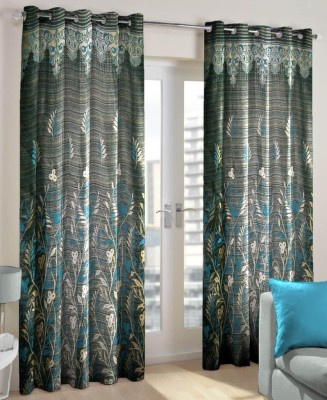 Just Linen Polyester Steel Blue Floral Eyelet Door Curtain