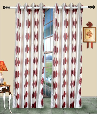 J&J Polyester Red, White Printed Eyelet Window & Door Curtain
