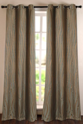 Deco Window Polyester Green Self Design Eyelet Door Curtain