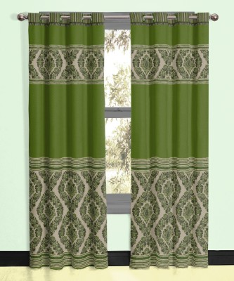 Vivace Homes Polyester, Jacquard Green Geometric Eyelet Door Curtain