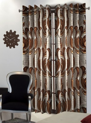 Home Blossoms Polyester Brown Floral Eyelet Door Curtain