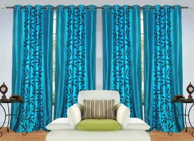 Shiv Shankar Handloom Polyester Aqua Blue Floral Eyelet Long Door Curtain