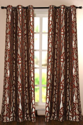 Deco Window Polyester Brown Printed Eyelet Door Curtain