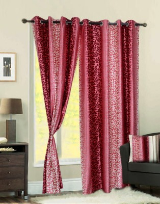 Jds Polyester Pink Printed Ring Rod Door Curtain