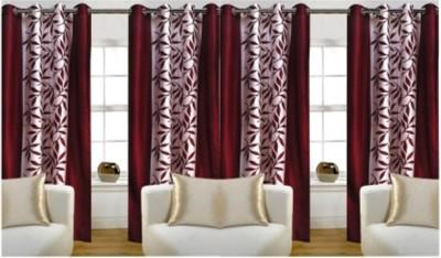 RedHot Polyester Maroon Printed Eyelet Window & Door Curtain