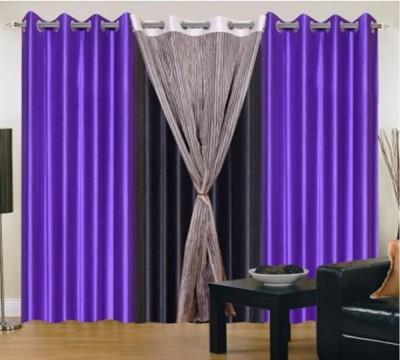 Style Maniac Polyester Multicolor Plain Eyelet Long Door Curtain