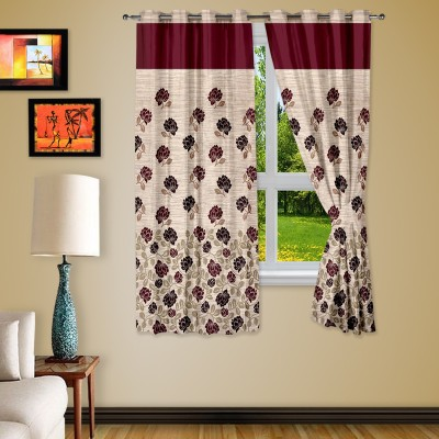 Story @ Home Jacquard Maroon Abstract Eyelet Window Curtain
