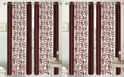 Shopgalore Polyester Brown Floral Eyelet Door Curtain