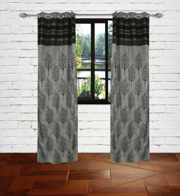 Gaurav Curtains Polyester Grey Floral Eyelet Long Door Curtain