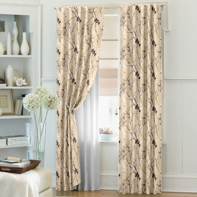 Dreamscape Blends Beige Abstract Eyelet Door Curtain