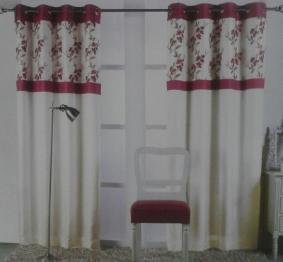 NKS FURNISHING Polyester Pink Floral Curtain Window & Door Curtain