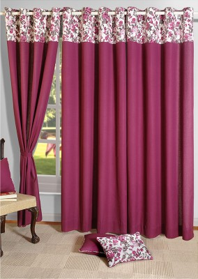 Swayam Cotton Pink Abstract Eyelet Door Curtain