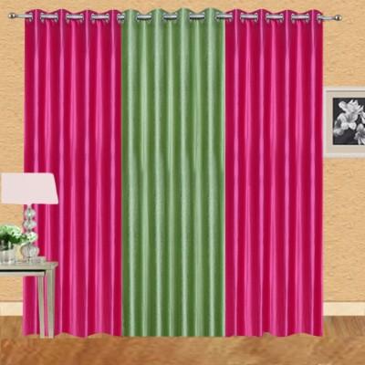 Excel Bazaar Polycotton Darkpink-1pista Plain Eyelet Door Curtain