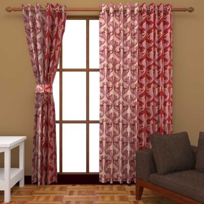 Kanha Polyester Red Abstract Eyelet Long Door Curtain
