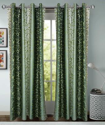 Rayon Casa Polyester Green Printed Eyelet Door Curtain