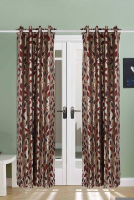 The Handloom Store Polycotton Maroon Floral Eyelet Long Door Curtain
