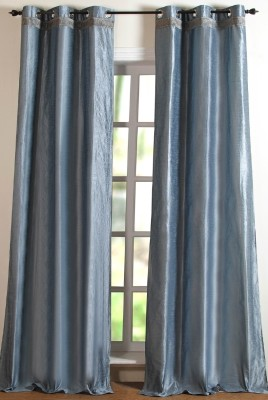 Deco Window Polyester Silver Solid Eyelet Door Curtain